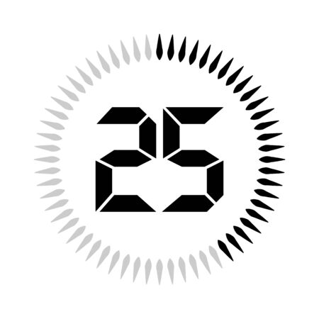 The 25 minutes or seconds, stopwatch vector icon, digital timer. clock and watch, timer. Illustration