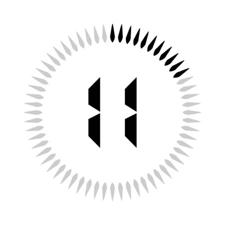 The 11 minutes or seconds, stopwatch vector icon, digital timer. clock and watch, timer.
