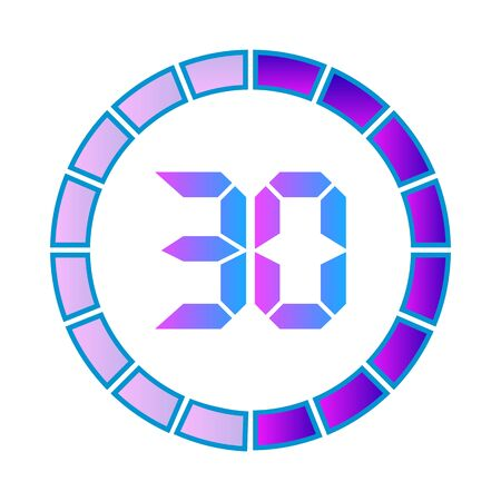 The 30minutes or seconds, stopwatch vector icon, digital timer. clock and watch, timer. Modern style in neon color.