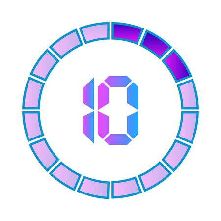 The 10 minutes or seconds, stopwatch vector icon, digital timer. clock and watch, timer. Modern style in neon color.