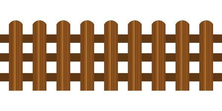 Picket fence, wooden textured, rounded edges. Wood boards silhouette construction in realictic style Vecteurs