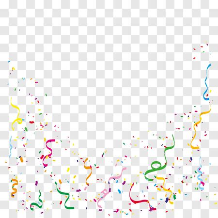 Colorful bright confetti isolated on transparent background. Vector illustration .