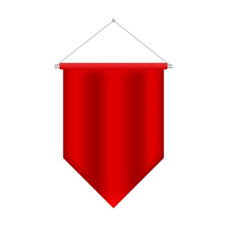 Soccer Flag Pennant Vector. Red Wall Hanged Pennant Template. Realistic Pennant Template. Blank 3D Flag. Empty 3D Pennant template. Blank flag. 3d illustration isolated on white background