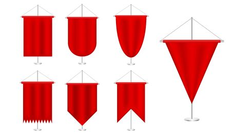 Signal red long sport advertising pennants banners set samples on pole stand. Satin red various shapes pennants. Blank flag. Realistic vector illustration Vettoriali