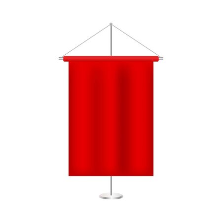 A medieval style red banner flag suspended. Modern publication x-banner and flag-banner,carpet design.Red ribbon out of white paper. Roll up business brochure flyer banner design vertical template vec