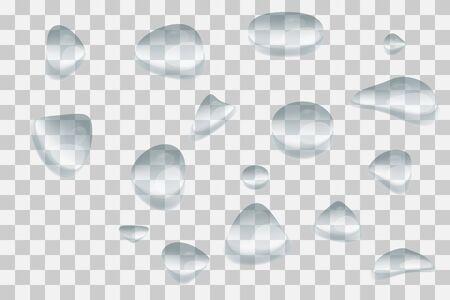 Gocce di pioggia d'acqua o doccia a vapore isolata su sfondo trasparente. Trama di sovrapposizione finestra piovosa. Pioggia su sfondo di vetro. Illustrazione vettoriale Vettoriali