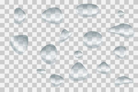 Water rain drops or steam shower isolated on transparent background.  Rainy window overlay texture. Rain on glass background. Vector illustration