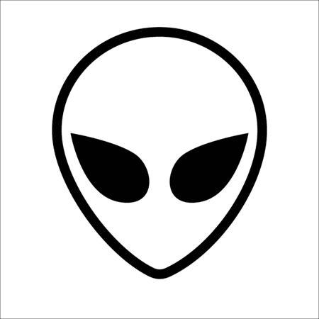 Cara alienígena extraterrestre o arte lineal de símbolo de cabeza. Contorno de cabeza humanoide, invasor espacial futurista, emblema de fantasía paranormal. Ilustración de vector