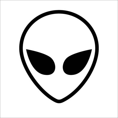 Visage extraterrestre extraterrestre ou dessin au trait de symbole de tête. Contour de tête humanoïde, envahisseur de l'espace futuriste, emblème de fantaisie paranormale. Vecteurs