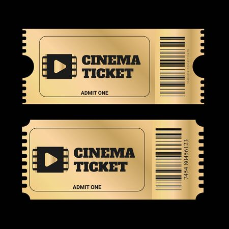 Gold ticket, golden token  isolated on black background. Cinema, theatre, concert, play, party, event and festival gold ticket realistic template set. Icon for website.