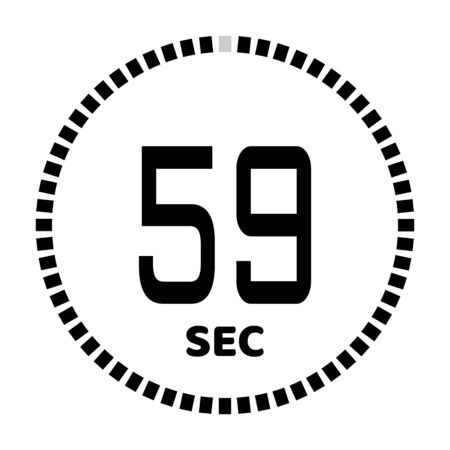 The 59 seconds, stopwatch icon, digital timer. Digital Countdown Timer Vector Icon. Clock and watch, timer.