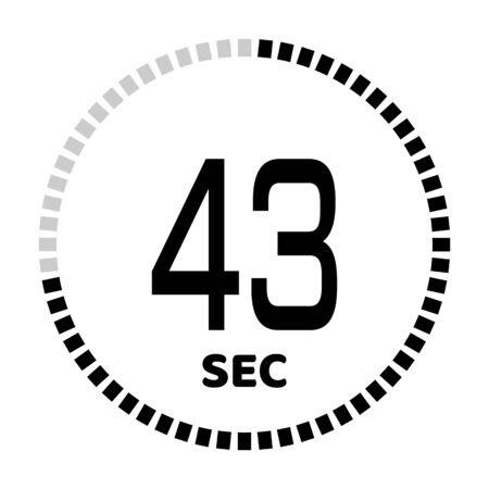 I 43 secondi, l'icona del cronometro, il timer digitale. Icona di vettore del timer per il conto alla rovescia digitale. Orologio e orologio, timer.