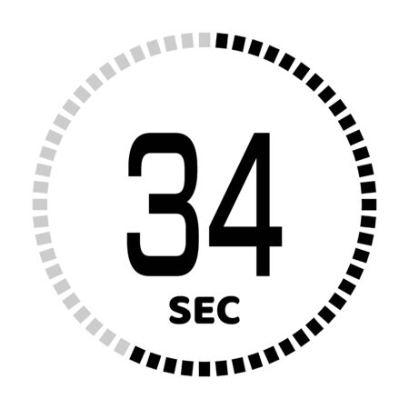 The 34 seconds, stopwatch icon, digital timer. Digital Countdown Timer Vector Icon. Clock and watch, timer.
