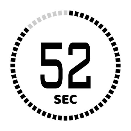 The 52 seconds, stopwatch icon, digital timer. Digital Countdown Timer Vector Icon. Clock and watch, timer. Illustration