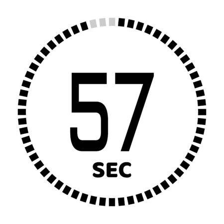 The 57 seconds, stopwatch icon, digital timer. Digital Countdown Timer Vector Icon. Clock and watch, timer.