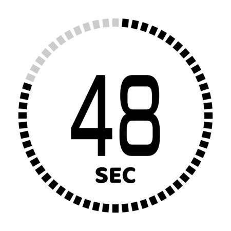 The 48 seconds, stopwatch icon, digital timer. Digital Countdown Timer Vector Icon. Clock and watch, timer. Illustration