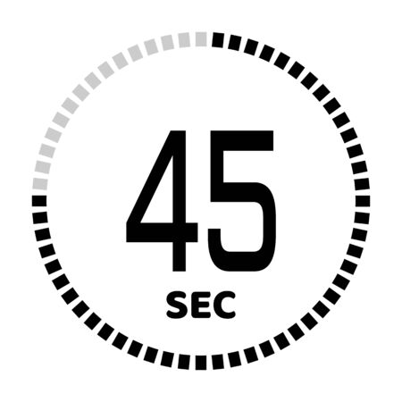 The 45 seconds, stopwatch icon, digital timer. Digital Countdown Timer Vector Icon. Clock and watch, timer.