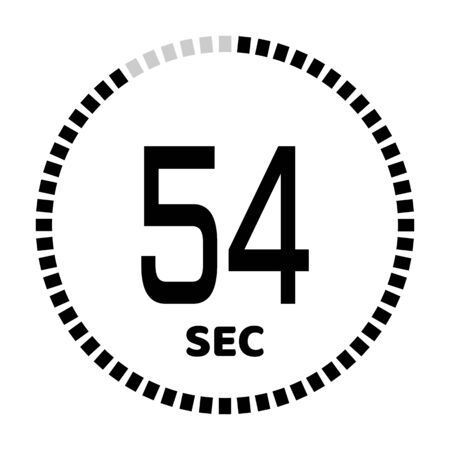 The 54 seconds, stopwatch icon, digital timer. Digital Countdown Timer Vector Icon. Clock and watch, timer.