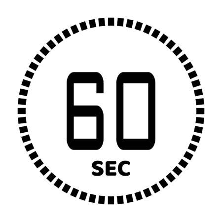 I 60 secondi, icona del cronometro, timer digitale. Icona di vettore del timer per il conto alla rovescia digitale. Orologio e orologio, timer.