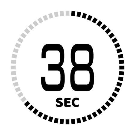 I 38 secondi, l'icona del cronometro, il timer digitale. Icona di vettore del timer per il conto alla rovescia digitale. Orologio e orologio, timer.
