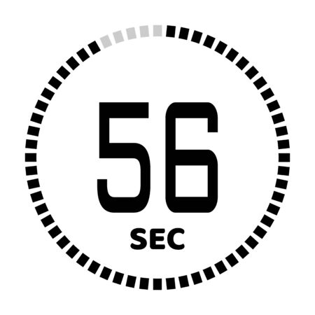 The 56 seconds, stopwatch icon, digital timer. Digital Countdown Timer Vector Icon. Clock and watch, timer. Illustration