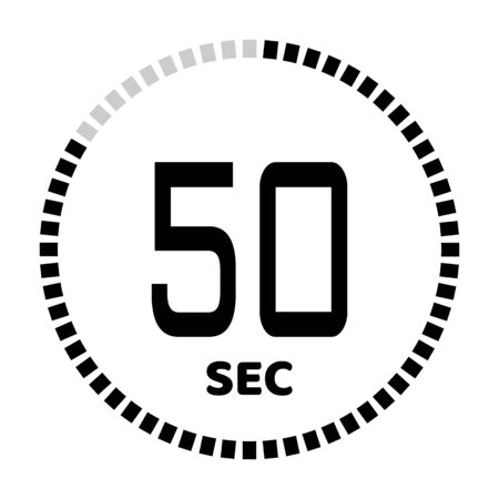 The 50 seconds, stopwatch icon, digital timer. Digital Countdown Timer Vector Icon. Clock and watch, timer. Illustration