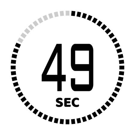 The 49 seconds, stopwatch icon, digital timer. Digital Countdown Timer Vector Icon. Clock and watch, timer.