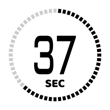 The 37 seconds, stopwatch icon, digital timer. Digital Countdown Timer Vector Icon. Clock and watch, timer. Illustration