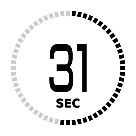 The 31 seconds, stopwatch icon, digital timer. Digital Countdown Timer Vector Icon. Clock and watch, timer. Ilustração