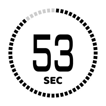 The 53 seconds, stopwatch icon, digital timer. Digital Countdown Timer Vector Icon. Clock and watch, timer. Illustration