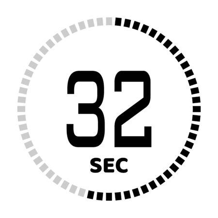 The 32 seconds, stopwatch icon, digital timer. Digital Countdown Timer Vector Icon. Clock and watch, timer.