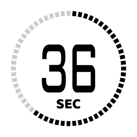 The 36 seconds, stopwatch icon, digital timer. Digital Countdown Timer Vector Icon. Clock and watch, timer.
