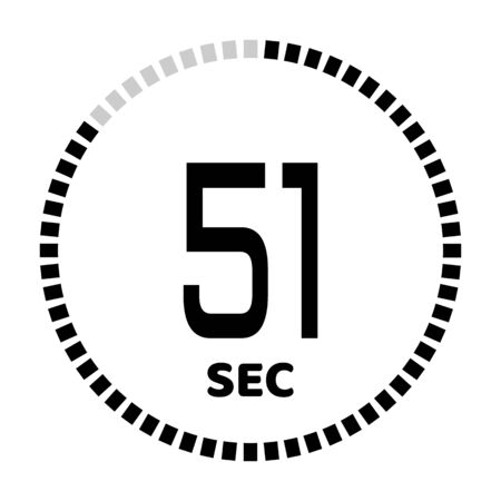 The 51 seconds, stopwatch icon, digital timer. Digital Countdown Timer Vector Icon. Clock and watch, timer. Illustration
