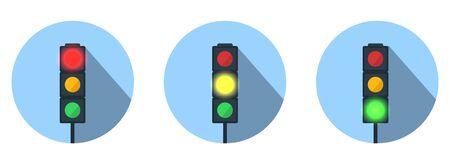 Set of Vector Traffic Lights. LED traffic lights showing red, amber or green lights.
