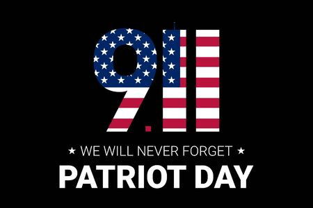 Never forget 9 11 Partiot day USA banner.  Patriot Day September 11, 2001. Design template, we will never forget. Digits made of ribbons with American flag's stars and stripes.