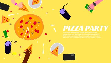 Pizza party poster. Eating pizza vector illustration. Vector banner for fast food. Thin line flat design.