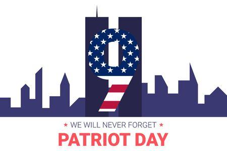 Vergeet nooit 9 11 Partio Day USA banner. Patriot Day 11 september 2001. Ontwerpsjabloon, we zullen het nooit vergeten. Cijfers gemaakt van linten met sterren en strepen van de Amerikaanse vlag. Vector Illustratie