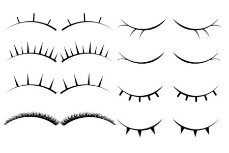 Set of female eyelashes. Collection of false eyelashes.  . Silhouette drawing. Vettoriali