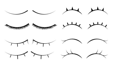 Set of female eyelashes. Collection of false eyelashes.  Closed eyes. Female makeup.