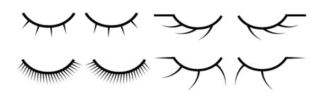 Set of female eyelashes. Collection of false eyelashes.
