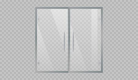 Glass doors to the shopping center or office isolated on transparent background.