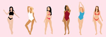 Multiracial women  in swimsuits standing in row. Female cartoon characters.  Female stylish swimwear silhouettes isolated. Flat beach clothing underwear.