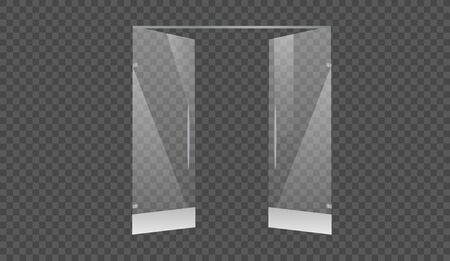 Glass doors to the shopping center or office isolated on transparent background. Mock up entrance door for shop or fashion boutique.