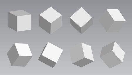 A set of cube icons with a perspective 3d cube model with a shadow.  White blocks with different lighting and shadows, boxes in perspective. 写真素材 - 131842236