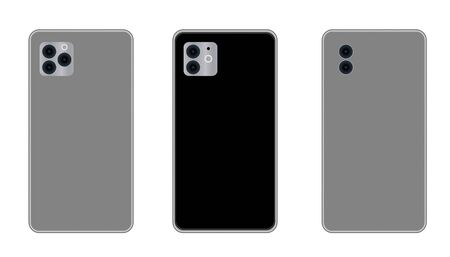 phone mockup with blank screen. Back and front view realistic. Mock up phone with blank screen Иллюстрация