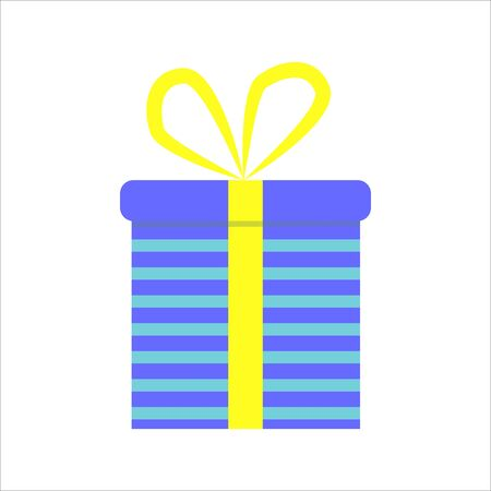 Gift box. Present package with bursting elements, surprise inside.  Colorful wrapped. Sale, shopping concept. Collection for Birthday, Christmas. For Vector Cartoon flat design Stock Illustratie