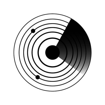Iconos de radar. Ondas de sonido sonar pictograma sólido. Ilustración plana del icono de vector de objetivo de radar marítimo para web aislado en blanco Ilustración de vector
