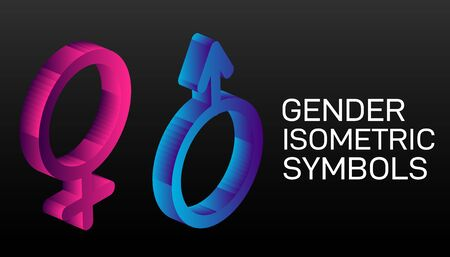 Gender signs on scales. Balance, equality between men's and a female. Isometry.3D illustration of Gender, gender symbol, sex, transform, transgender isometric icon. Archivio Fotografico - 131842397