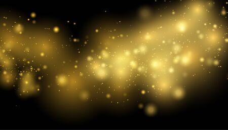 Złote tło światła. Koncepcja świateł bożonarodzeniowych. Błyszczące magiczne cząsteczki kurzu. Magiczna koncepcja. Ilustracje wektorowe