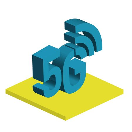 5G network wireless technology vector illustration. Isometric smartphone with big letters 5g